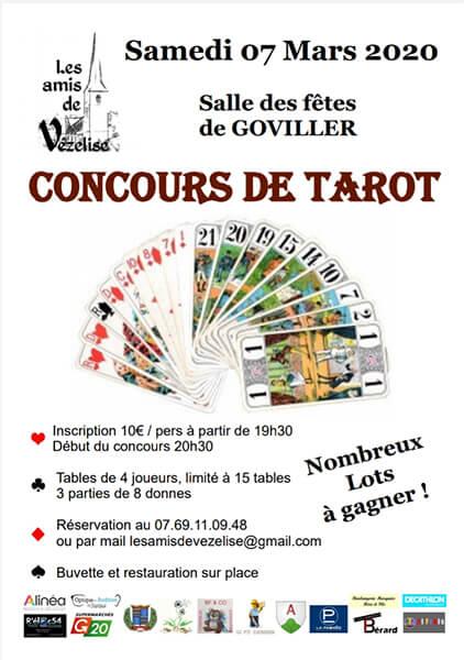 Les Amis de Vézelise – Concours de tarot le 07 Mars à Goviller