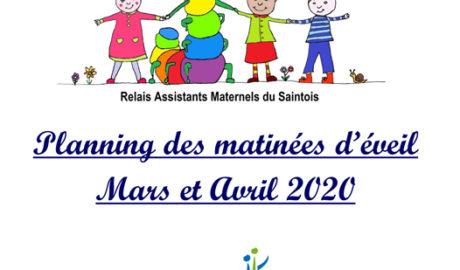 Relais Assistants Maternels du Saintois – Le planning des matinées d'éveil pour les mois de mars & avril 2020