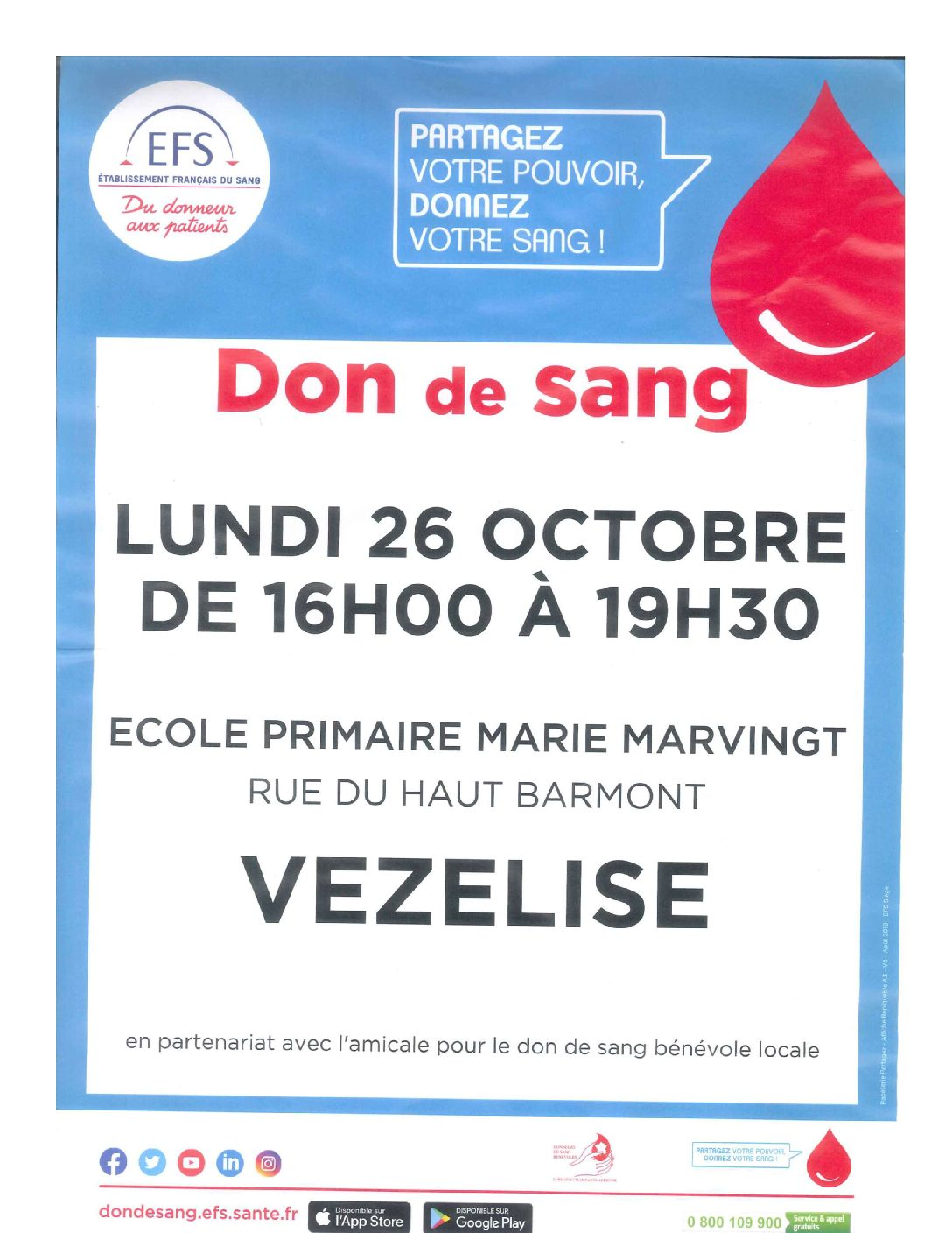 Don du sang le 26 octobre