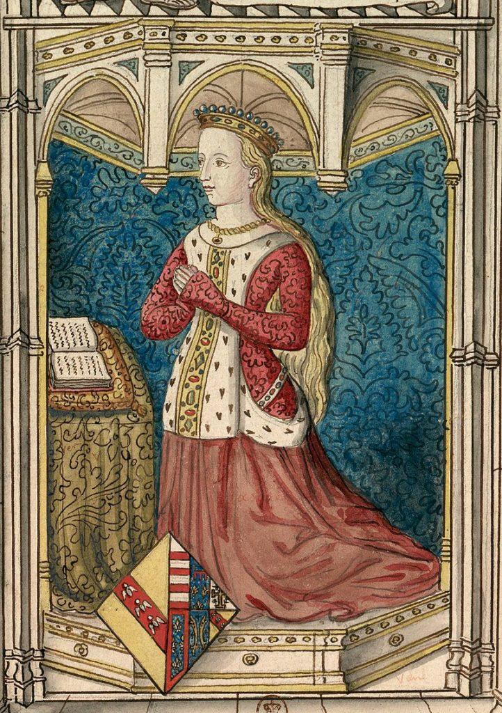 Représentation de Yolande d'Anjou d'après un vitrail du xve siècle, aujourd'hui disparu, qui se trouvait dans l'église des Cordeliers d'Angers.