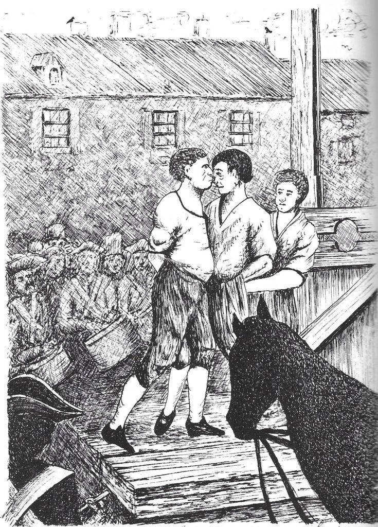 Exécution de Salle et Gaudet, selon une gravure du XIXe siècle. Dessin de Daniel Champeaux